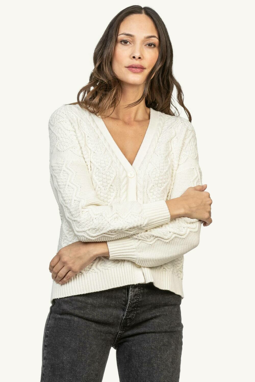 Lilla P Cable Cardi Ivory XS