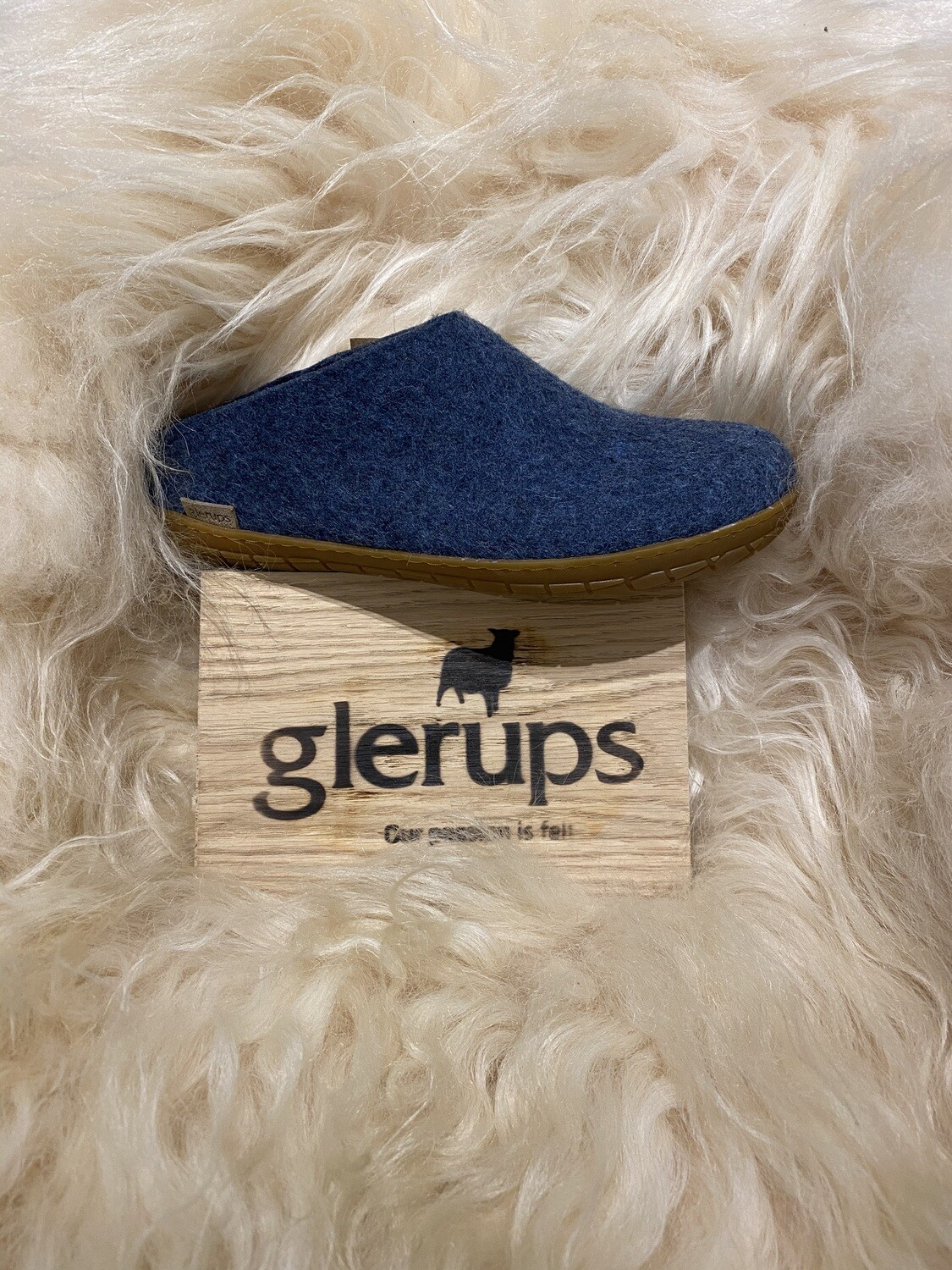 Glerups Open Heel Slipper, Denim