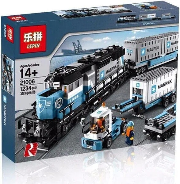 Lepin Blue Diesel Container Train
