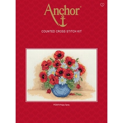 Anchor Essentials Cross Stitch Kit - Poppy Spray