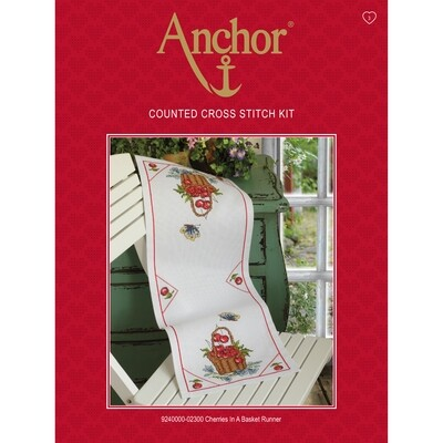 Anchor Essentials Cross Stitch Kit - Cherries in a Basket Runner