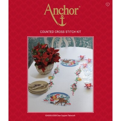Anchor Essentials Cross Stitch Kit - Deer Suppers Tablecloth