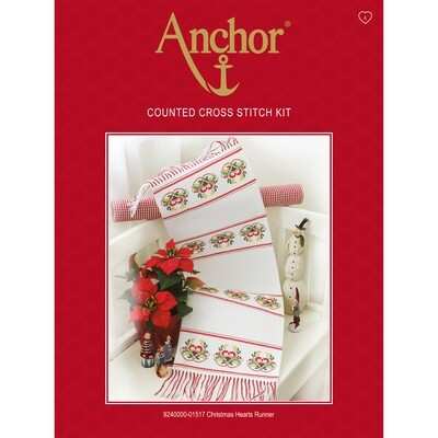 Anchor Essentials Cross Stitch Kit - Christmas Heart Runner