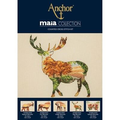 Maia Cross Stitch Kit - Stag Silhouette 20x26cm