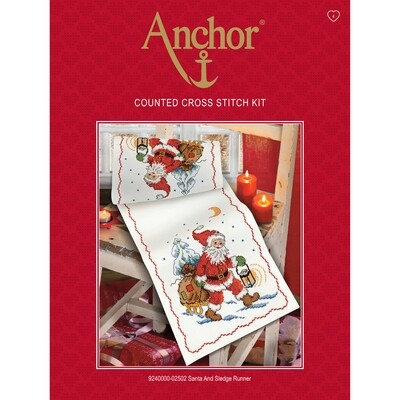Anchor Essentials Cross Stitch Kit - Santa & Sledge Runner