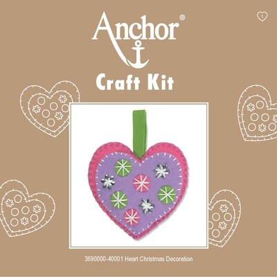 Anchor 1st Kit - Hearts Xmas Decoration