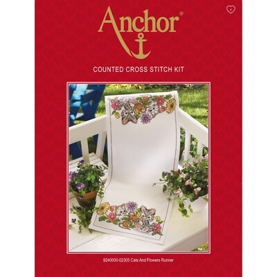 Anchor Essentials Cross Stitch Kit - Cats and Flowers Runner