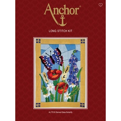 Anchor Starter Long Stitch Kit - Stained Glass Butterfly