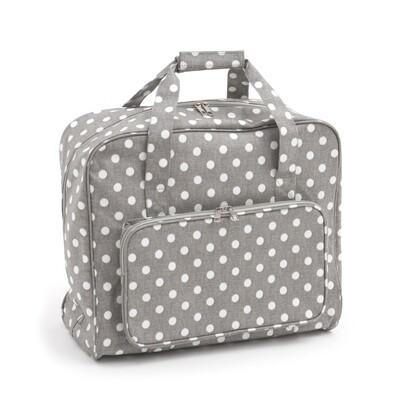 Sewing Machine Bag - Grey Linen Polka