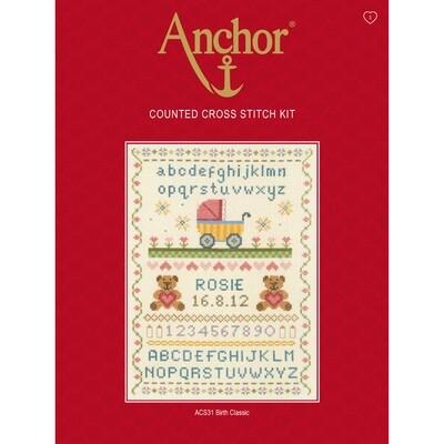 Anchor Essentials Cross Stitch Kit - Birth Classic Sampler