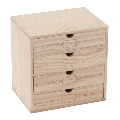 Wooden Storage Box with Drawers