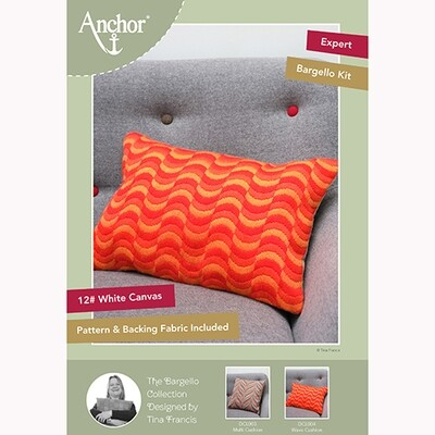 Kit Ponto Longo Anchor Essentials - Almofada Ondas Bargello