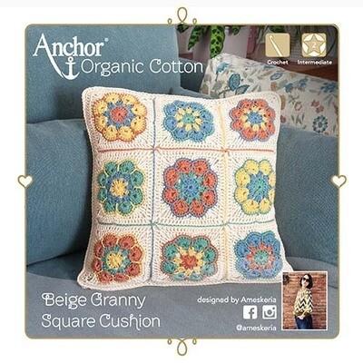Kit Crochet Anchor - Almofada Quadros da Avó Bege