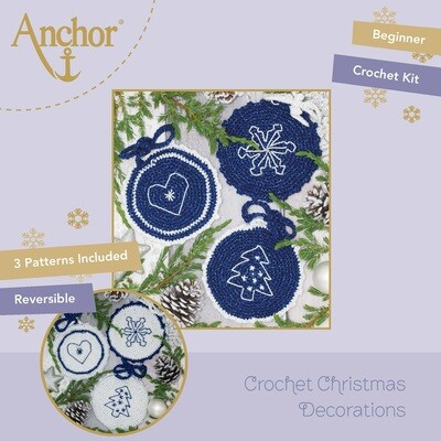 Crochet Christmas Decorations - Christmas Crocheted Circles (Blue Set)