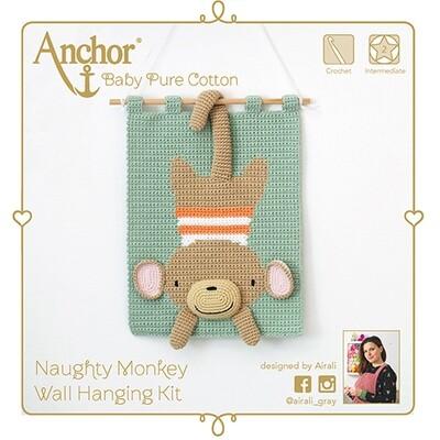 Kit Crochet Anchor - Macaco Maroto 3D para pendurar na parede