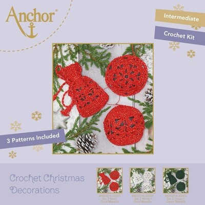 Crochet Christmas Decorations - Set 2 Red/Gold Metallic