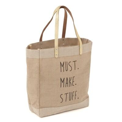 Craft Tote Bag Medium - Printed Jute 'Must Make Stuff'