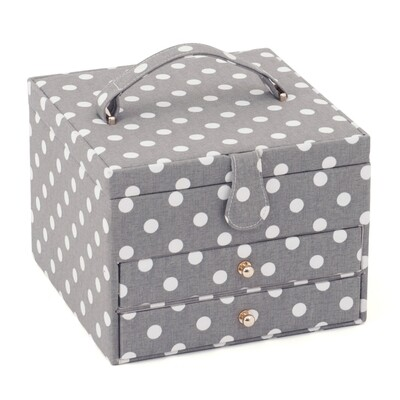 Sewing Box Large with drawers - Grey Spot