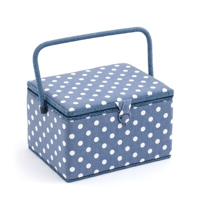 Sewing Box Large - Denim Polka Dot