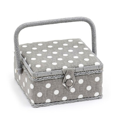 Sewing Box Small - Grey Linen Polka