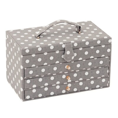 Sewing Box XL with Drawers - Grey Spot