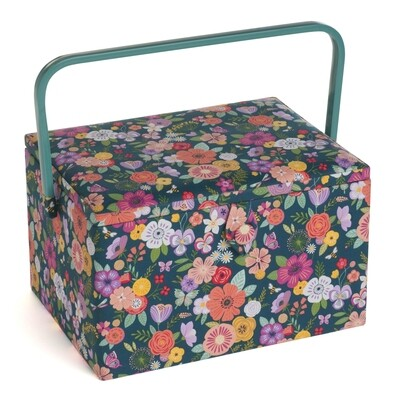 Sewing Box Large - Floral Garden Teal