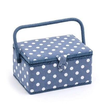 Sewing Box Medium - Denim Polka Dot