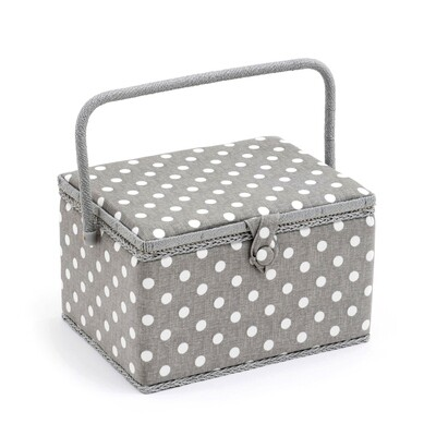 Sewing Box Large - Grey Linen Polka