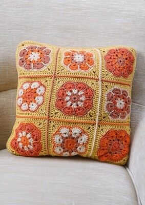 Gold Granny Square Cushion
