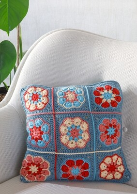 Blue Granny Square Cushion