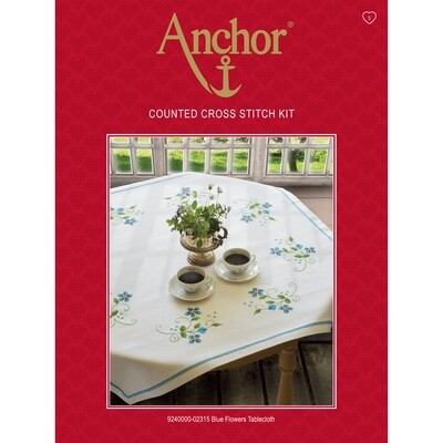 Anchor Essentials Cross Stitch Kit - Blue Flower Tablecloth