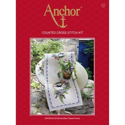 Anchor Essentials Cross Stitch Kit - Bird & Blue Flowers Runner
