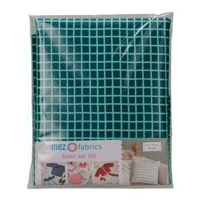 Pre-Cut Cotton - My Baby Love Selection - Grid - Blue (100 x 140 cm)