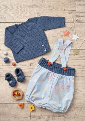 Modelo Blue Cardigan, Bloomers and Booties