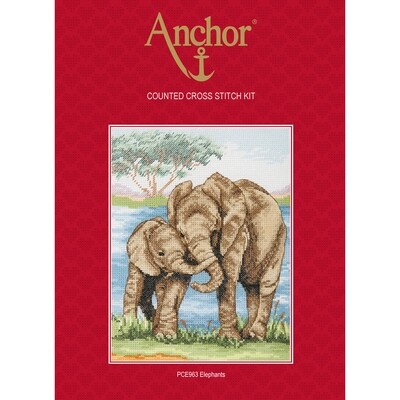 Anchor Essentials Cross Stitch Kit - Elephants