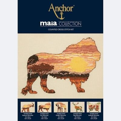 Maia Cross Stitch Kit - Lion Silhouette 20x26cm