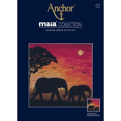 Maia Cross Stitch Kit - Elephant Silhouette
