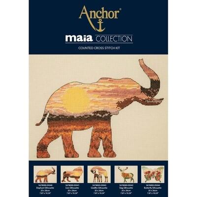 Maia Cross Stitch Kit - Elephant Silhouette 20x26cm