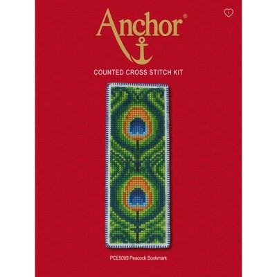 Anchor Essentials Cross Stitch Kit - Peacock Bookmark