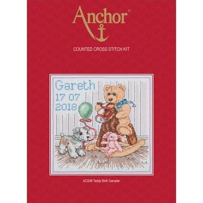Anchor Essentials Cross Stitch Kit - Teddy Birth Sampler