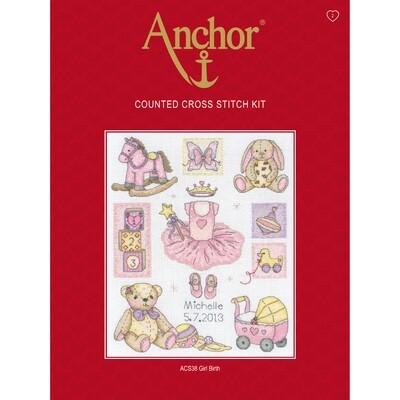 Anchor Essentials Cross Stitch Kit - Girl Birth Sampler
