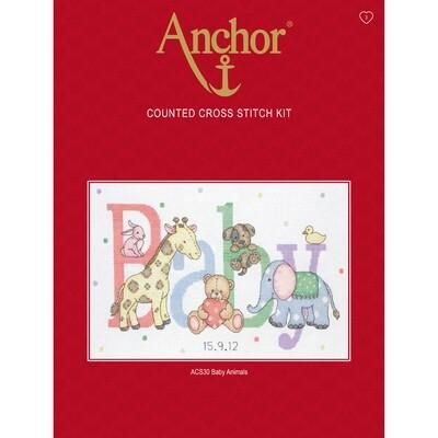 Anchor Essentials Cross Stitch Kit - Baby Animals Sampler