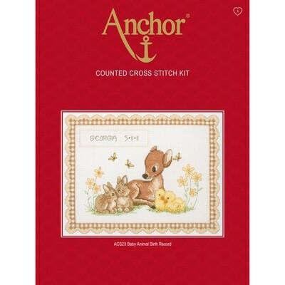 Anchor Essential Cross Stitch Kit - Baby Animals Birth Record
