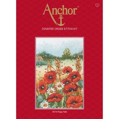 Anchor Starter Cross Stitch Kit - Poppy Field