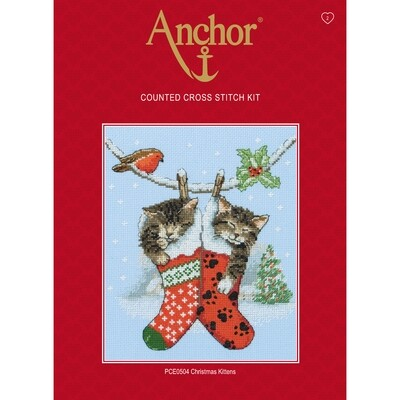 Anchor Essentials Cross Stitch Kit - Christmas Kittens