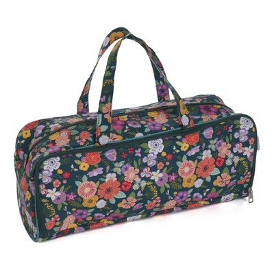 Knit Pin Bag with Pin Case - Floral Garden Teal