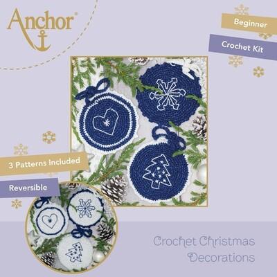 Crochet Christmas Decorations - Christmas Crocheted Circles (Blue Set)