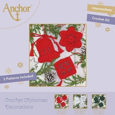 Crochet Christmas Decorations - Set 1 Red/Gold Metallic