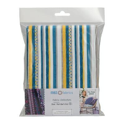 Pre-Cut Cotton - Dee Hardwicke - Triangle & Stripe - Teal (100 x 145 cm)