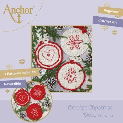 Crochet Christmas Decorations - Christmas Crocheted Circles (Red Set)